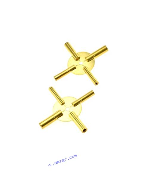 SE JT6336-2 Universal 4 Prong Brass Clock Key for Winding Clocks, Odd and Even Numbers, 2 Piece