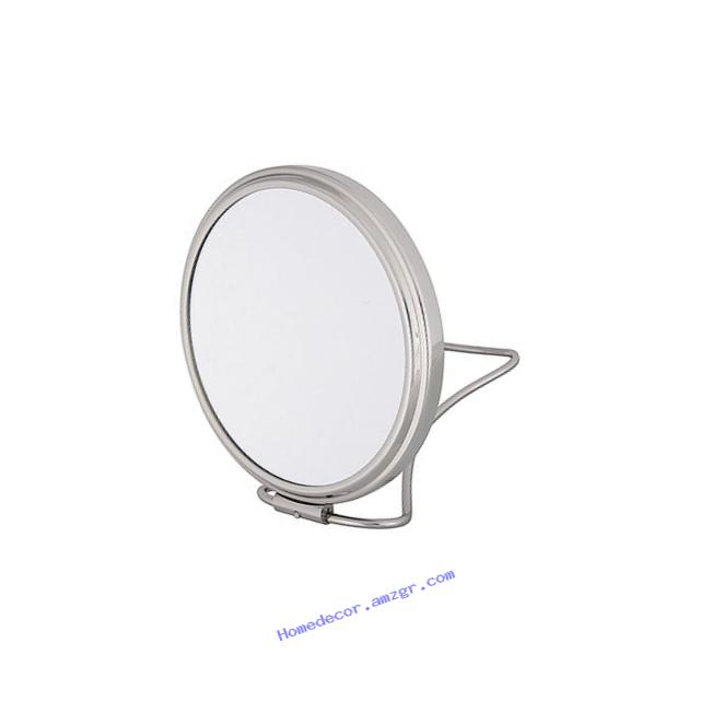 Frasco 4.75 Inch Round Stand Folding Travel Double Sided Mirror with Pouch Chrome