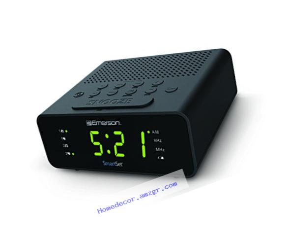 Emerson CKS1800 SmartSet Alarm Clock Radio with AM/FM Radio, Dimmer, Sleep Timer and .9