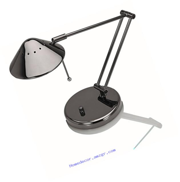 V-LIGHT Halogen Desk Lamp with 3-Point Adjustable Arm, Black Chrome (VSD102BC)