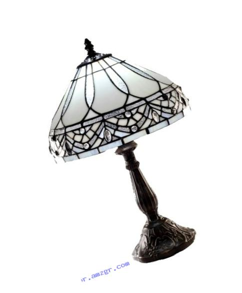 Warehouse of Tiffany 1150+MB06S GG Tiffany-style White Jewels Table Lamp, White
