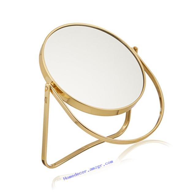 Frasco Mirrors Folding Stand Double Sided Mirror, Brass, 1.5 lb.