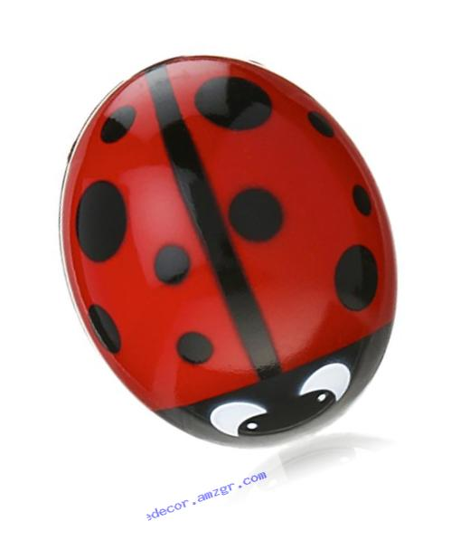 Kikkerland Ladybug Suction Cup Toothbrush Holder, Red/Black