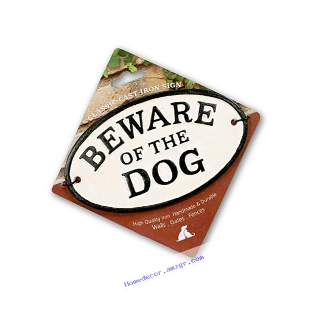 Beware of The Dog Cast Iron Oval Sign