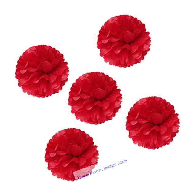 Wrapables Tissue Pom Poms Party Decorations for Weddings, Birthday Parties, Baby Showers and Nursery Decor, Red, 8-Inch, Set of 5