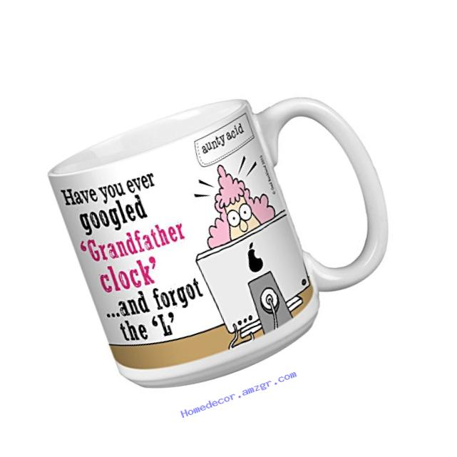 Tree-Free Greetings Extra Large 20-Ounce Ceramic Coffee Mug, Aunty Acid Grandfather Clock (XM41590)