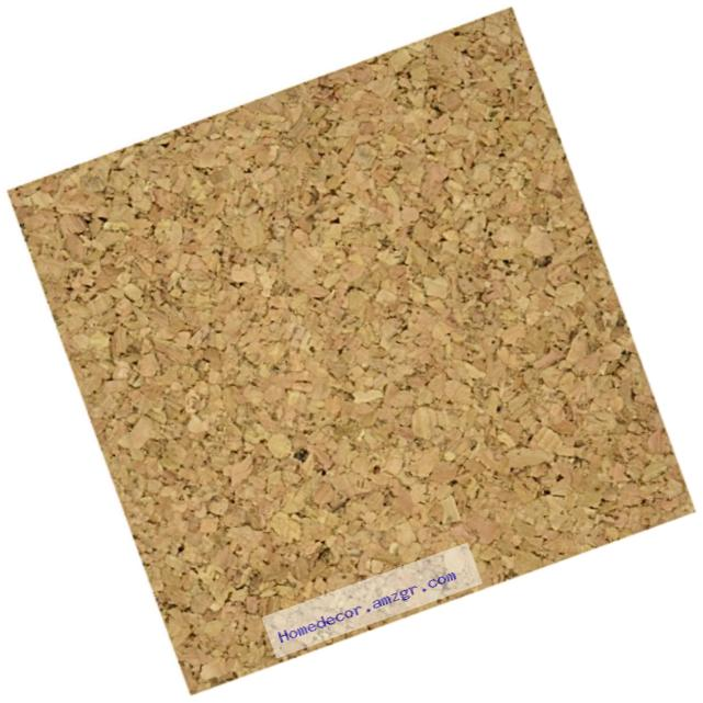 Cork Collection Adhesive Wall Tile, 6-Inch by 6-Inch by 5mm, 4/Pkg